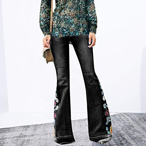 Vertvie Damen Jeans Bootcut Jeanshose Mit Hohem Bund Casual Lange Mode Hose Weite Schlaghosen Retro Stil Denim Hose (EU 36, Z-Schwarz) -