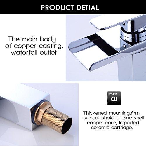 Auralum® Design LED RGB Waschbecken armaturen Wasserhahn badezimmer Wasserfall Waschtischarmatur Einhebelmischer Kalt- und Warmwasser heightening Absatz -