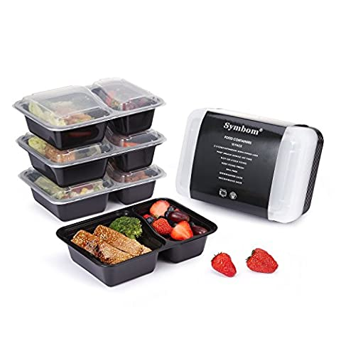 [10 Pack]Symbom 10-Pack 2 Unterteilungen Bento Lunchboxen mit Deckel -