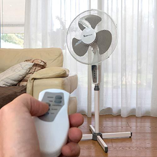 Astan Hogar Ventilador de Pie Capri con Mando a Distancia y Temporizador Faan AH-AF20020, Gris