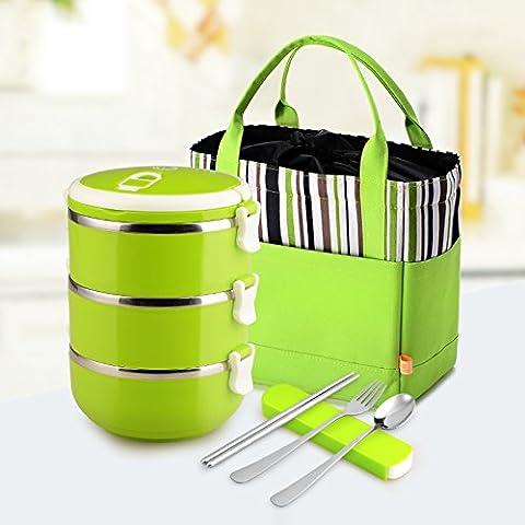 HENGXin @ Acciaio inossidabile Bento Box scatola di pranzo recipiente isolato 3 strato verde (2100ML)