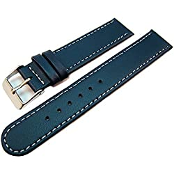 Blue Leather Watch Strap Band White Stitched Edging & Nubuck Lining 18mm
