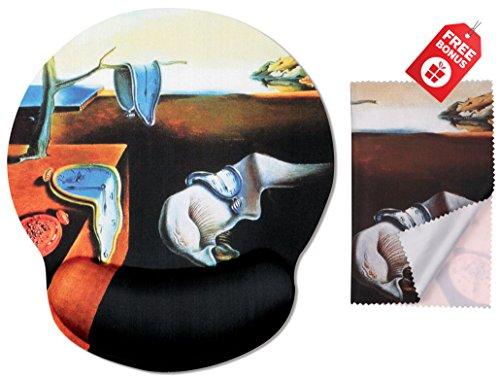 Salvador Dali Die Beständigkeit der Speicher Ergonomisches Design Mauspad mit Handballenauflage Hand Support. Runder großer Mausbereich. Passende Mikrofaser Reinigungstuch für Brillen und Bildschirme.