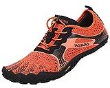 SAGUARO Hombre Mujer Barefoot Zapatillas de Trail Running Minimalistas Zapatillas de Deporte Fitness Gimnasio Caminar Zapatos Descalzos para Correr en Montaña Asfalto Escarpines de Agua, Naranja, 39