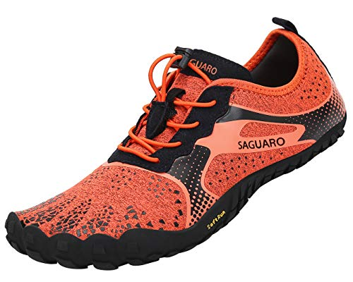 Chaussures de Trekking Trail Running Homme Femme Sport Outdoor Gym Fitness Barefoot Shoes Minimalistes Orange 40