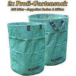 WeltiesSmartTools 2er Pack XXL Laubsack 300L PROFIQUALITÄT mit doppelt verstärkten Griffnähten stabil reißfest zum transportieren oder kompostieren von Gartenabfällen
