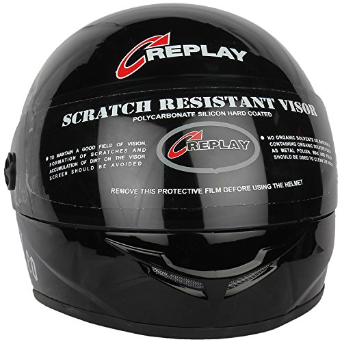 Replay Leo Plain Full Face Helmet with tinted  Visor (Black, M)  available at amazon for Rs.545