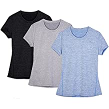 Icyzone® Active Ladies Melange T-Shirt Outdoor Sports Sun Protection Compression Base Layer Shirt Pack of 3