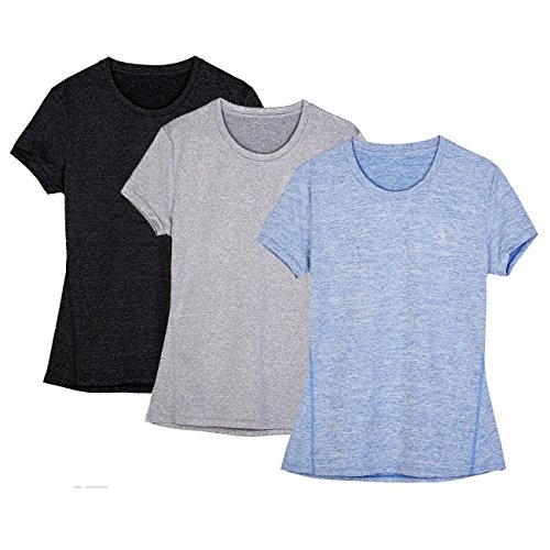 icyZone® Damen Sport T-Shirt Running Fitness Shirts Sportbekleidung Kurzarm Oberteile Shortsleeve Top M Black/Granite/Blue