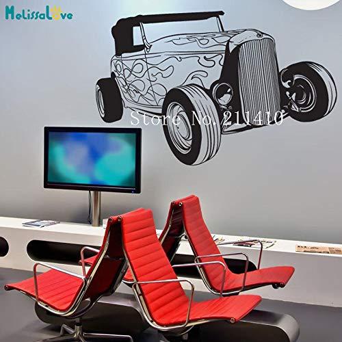 zhuziji Feuer Vinyl Wandaufkleber Klassische Hot Rod Auto Adesivo De Parede Dekoration Für Wohnzimmer Selbstklebende Art Cool Wandbild schwarz 67x42 cm