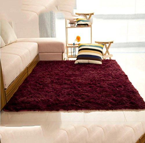 Preisvergleich Produktbild DZYZ Korallen Samt Rutschfeste Teppich Nachttisch Schlafzimmer Treppen Wohnzimmer Bad Mit Treppen , red wine 4.5cm , 150*200cm