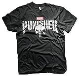 Licenza Ufficiale Marvel's The Punisher Distressed Logo Maglietta da Uomo (Nera), Large