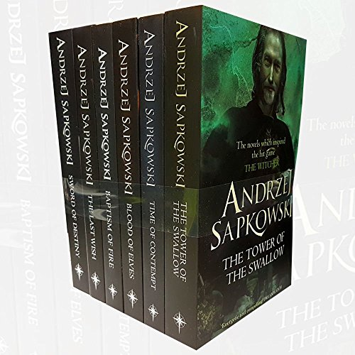 Witcher Series Andrzej Sapkowski Collection 6 Books Bundle BOX set With GiftJournal (The Tower of the Swallow, Time of Contempt, Blood of Elves, Baptism of Fire, The Last Wish, Sword of Destiny)