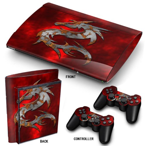 Preisvergleich Produktbild PS3 Super Slim Playstation Haut-,  PVC für Konsole + 2 Controller / Pads Aufkleber-Schutz-Abdeckung Art Leather Effect Mortal