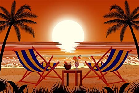 Sunset Cocktail (Beautiful Tropical Vacation Hawaiian Sunset with Cocktails Cartoon Icon Truck Car Bumper Sticker Vinyl Decal 5