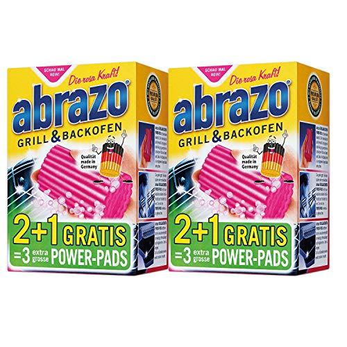 abrazo Grillreiniger & Backofen-Reiniger Reinigungs-Schwamm für Grill/Küche, verseifte Topfreiniger Pads 2x 2 + 1 Gratis