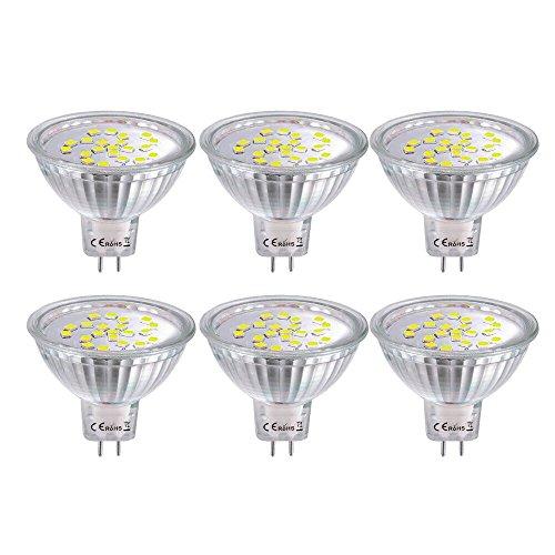 MR16 GU5.3 LED Glühbirnen Kühles Weiß 6000K 4W (Ersetzen 35W Halogen) LED Spot Lichtschiene Beleuchtung AC / DC 12V Glühbirnen Nicht-dimmbare 6er Pack -