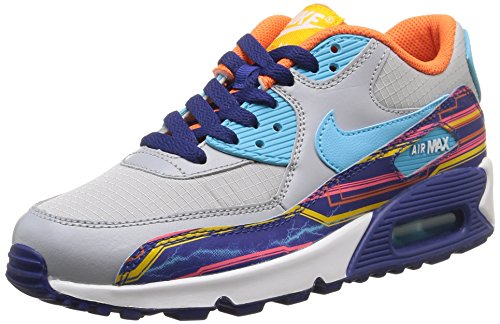 Nike Jungen Air Max 90 Prem Mesh (Gs) Laufschuhe, Blau, 38 EU Wolf Grey/Clearwater-University Gold-Electric Orange