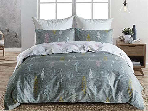 FuweiEncore Bettwäsche-Set, 100% Pure Cotton Duvet Bettdecke Set, Bettbezug Kissenbezüge Spannbettlaken, House Warming Gift, 3pcs (Farbe : Grau, Größe : Small) (Baumwolle Land Tröster)