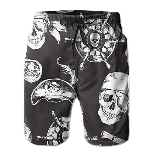 Pirate Skull Men's Swim Trunks Board Beachwear Casual Beach Shorts for Men with Mesh Lining,Size:XXL - Pirate Activity Pack