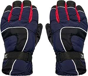 1 Paar Innengefütterte Ski /- Snowboard - Handschuhe schwarz/marine/rot (bis -20°) mit hohem Tragekomfort