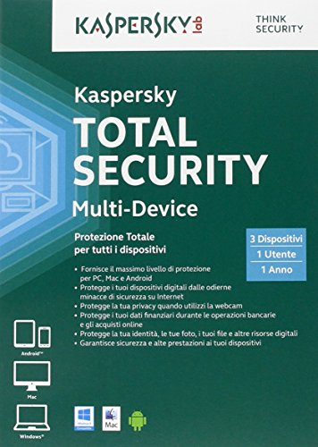 Kaspersky Total Security Multi Device 2015, Full Box, 3 User per PC/Mac/Android, 1 Anno ITA