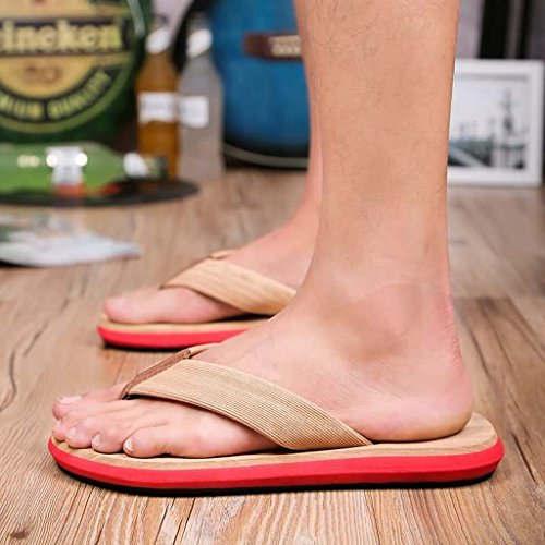Zxcv Zapatos Al Aire Libre Chanclas De Verano Para Hombres Madera De Imitación Texturas Sandalias Zapatos De Playa Zapatillas De Viaje Antideslizantes Impermeables Rojo