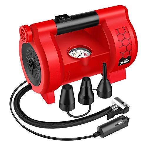 Oasser Elektrische Luftpumpe Luftmatratze Pumpe Multifunktional Inflator 12V DC 120PSI mit 3 Düsen für Autoreifen Fahrradreifen Aufblasbares Spielzeug Verpackung MEHRWEG