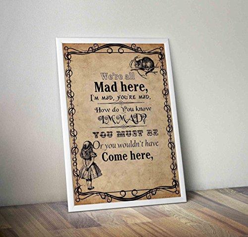 Alice im Wunderland Typografie Poster - Mad Hatter Poster - Alternative TV / Filmdrucke in verschiedenen Größen (Rahmen nicht im Lieferumfang enthalten) (Alice Mädchen Kostüm)