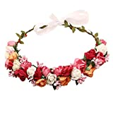 Sanjog Adjustable Wooden Stic Multicolor Floral Tiara For Girls