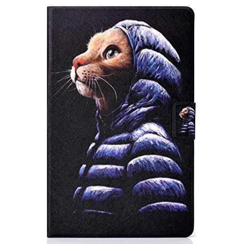 Lspcase Samsung Tab A 10.1 Hülle, Schutzhülle PU Leder Case - mit Automatischem Schlaf und Stand Funktion Magnetverschluss Handytasche für Samsung Galaxy Tab A 10.1 Zoll T580 / T585 Gekleidete Katze