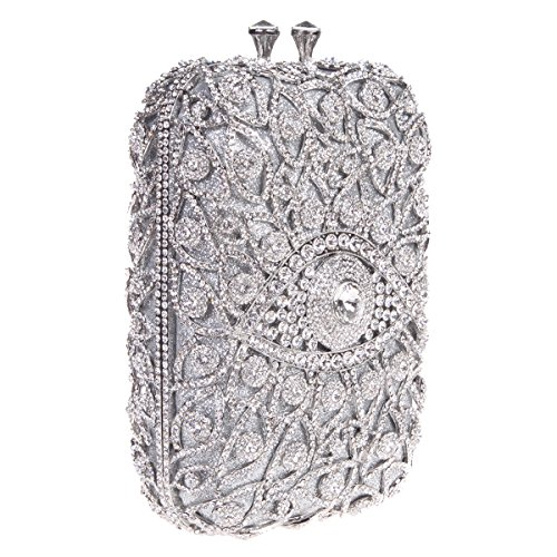 Bonjanvye Novelty Eye Shape Glitter Studded Purses with Crystal Rhinestone Handbags For Girls Black silver