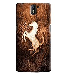 Omnam Horse Pattern Printed Designer Back Cover Case For One Plus One