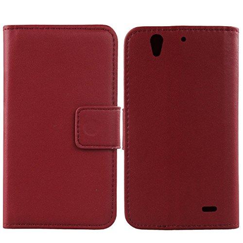 Gukas Design Echt Leder Tasche Für Huawei Ascend G630 Hülle Lederhülle Handyhülle Handy Flip Brieftasche mit Kartenfächer Schutz Protektiv Genuine Premium Case Cover Etui Skin (Dark Rot)