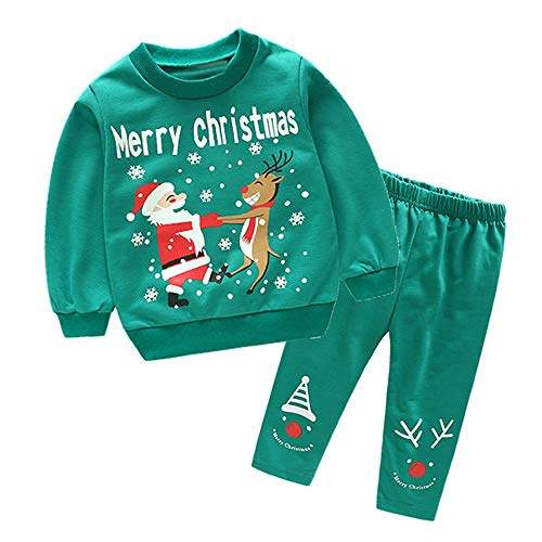 (Yazidan Kinder Herbst Winter Langarm Cartoon Weihnachtsmann Elch Schneemann Brief Drucken Sweatshirt Pullover T-Shirt Pullover Top + Lange Hosen Zweiteiliger Satz)