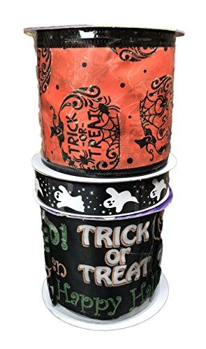 Orange Trick or Treat Kürbisse Geister und schwarz Happy Halloween Bundle Of Drei Halloween themed Bänder