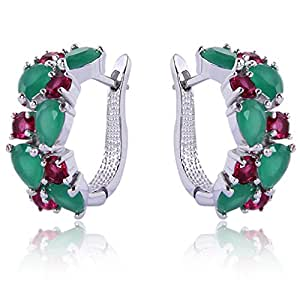 Yazilind Dazzling Rhodium Plated Green Red Round Pear Cut Flawless Cubic Zirconia Claw Small Hoop Earrings