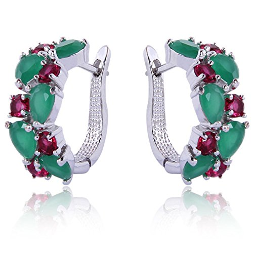 yazilind-dazzling-rhodium-plated-green-red-round-pear-cut-flawless-cubic-zirconia-claw-small-hoop-ea