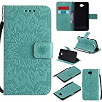 Microsoft Lumia 650 Case, KKEIKO® Microsoft Lumia 650 Flip Leather Case [with Free Tempered Glass Screen Protector], Shockproof Bumper Cover and Premium Wallet Case for Microsoft Lumia 650 (Flower)