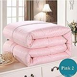 Gasgff EXTRA WARM,weiß rosa beige Maulbeerseide tröster/Decke/tagesdecken/bettdecke/bettwäsche/quiltfüller king-220 x 240 cm, 2000 g_Pink 2,daunendecke Winter warm