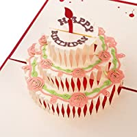 Unomor Happy Birthday Card for Her Mum and Wife, 3 Layers Cake Pop Up Card with Cute Red Candle, Envelope Included