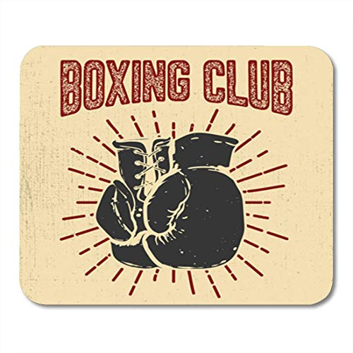 Gaming Mauspad Sketch Boxing Club Gloves on for Emblem Badge Boxer Athletic 11.8