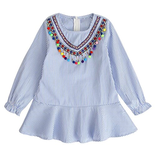 JERFER Herbst Kleinkind Kinder Mädchen Quaste Striped Robe Fille Rüschen Prinzessin Party Kleid