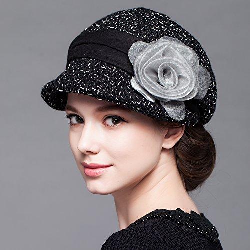 FQG*Mme automne et l'hiver hat fleurs est élégant et reposant petite cap chapeau en laine gris , élégant Black