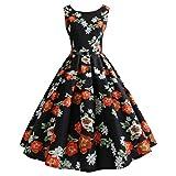 VEMOW Elegante Damen Damen Vintage Blumendruck Bodycon Sleeveless Beiläufige Tägliche Abendgesellschaft Prom Swing A-Linie Dress Cocktailkleider Faltenrock (Schwarz, EU-38/CN-M)