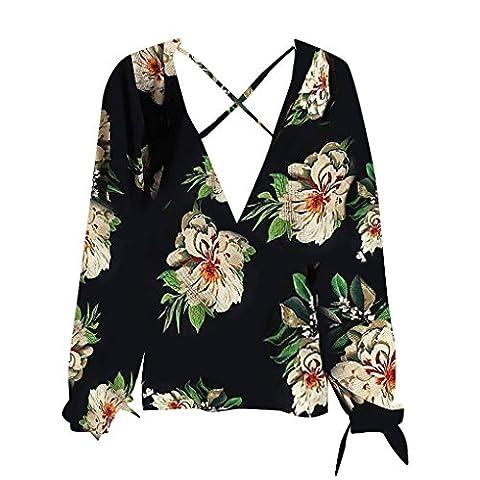 Masterein Women Cross Deep V-Neck Blouse Shirt Floral Print à manches longues en mousseline de soie Loose Top