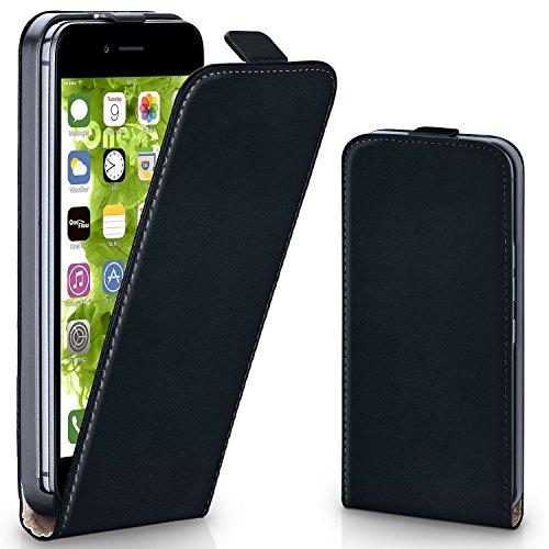 Schwarz Klappen (iPhone 7/8 Hülle Schwarz [OneFlow 360° Klapp-Hülle] Etui thin Handytasche Dünn Handyhülle für iPhone 7/8 Case Flip Cover Schutzhülle Kunst-Leder)