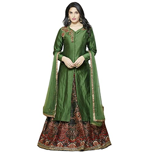 New Latest Green And Multi Color Banglori Silk Indo Western