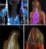 Uchic 12pcs Flash LED Cheveux Light Emitting Fibre Optic Pigtail Braid Perruque de cheveux Natte lumineux KTV fête Bal consommables accessoire pour cheveux Coiffe Iber fils d'événements et de fête