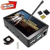 Für Raspberry Pi 4 Touchscreen mit Gehäuse, 3,5 Zoll 60 fps Monitor mit 480 x 320 Auflösung und Mini Lüfter, Kühlkörper